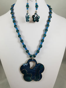 Teal Flower Necklace with Earrings