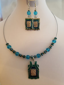Teal Lantern Necklace with Earrings