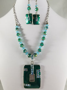 Teal Rectangle Necklace with Earrings
