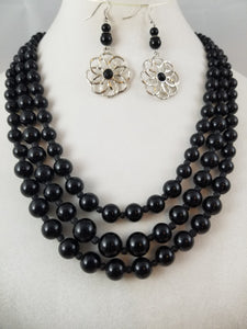 Three Strand Necklace with Earrings