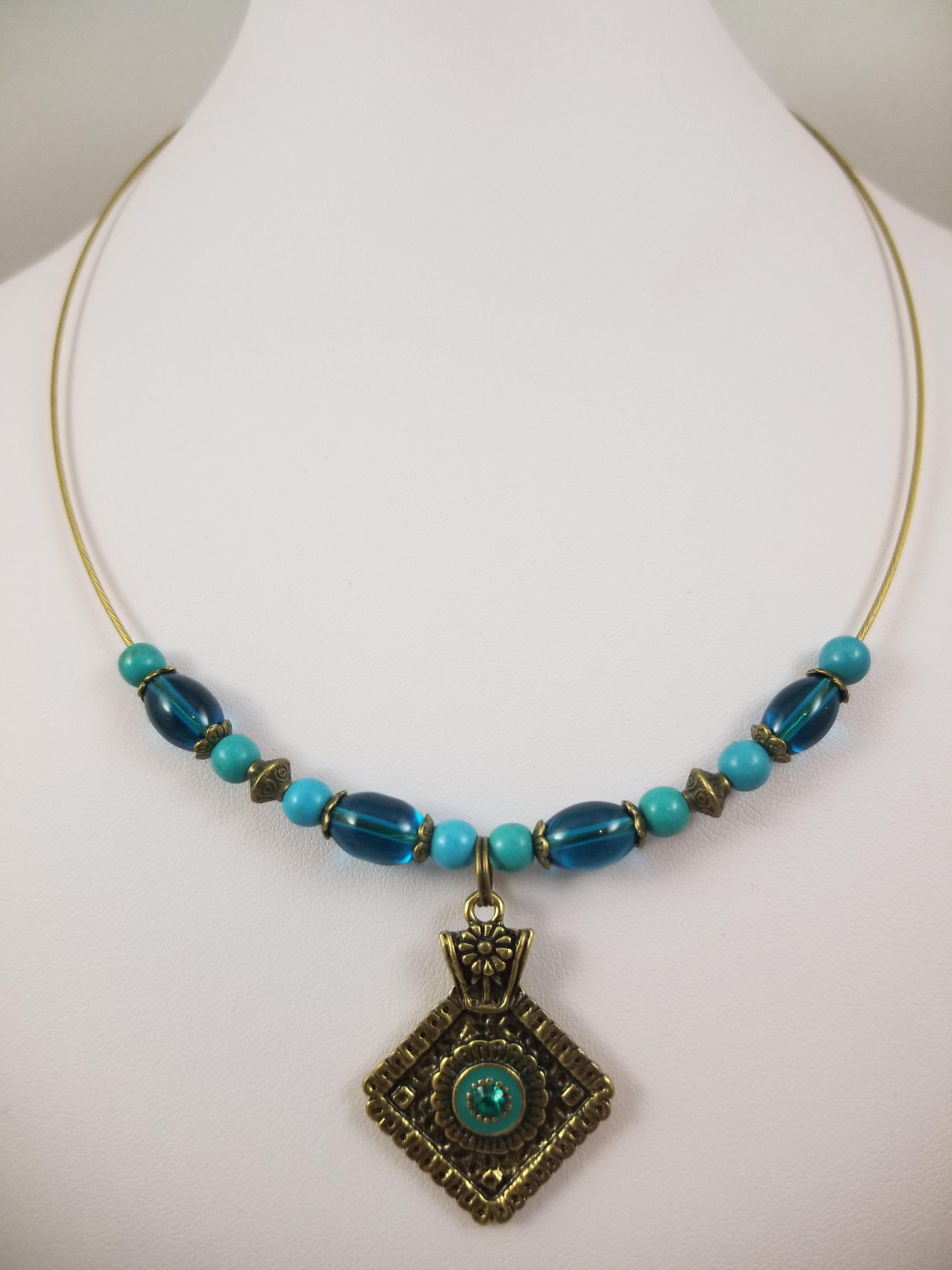 Tiny Teal Necklace