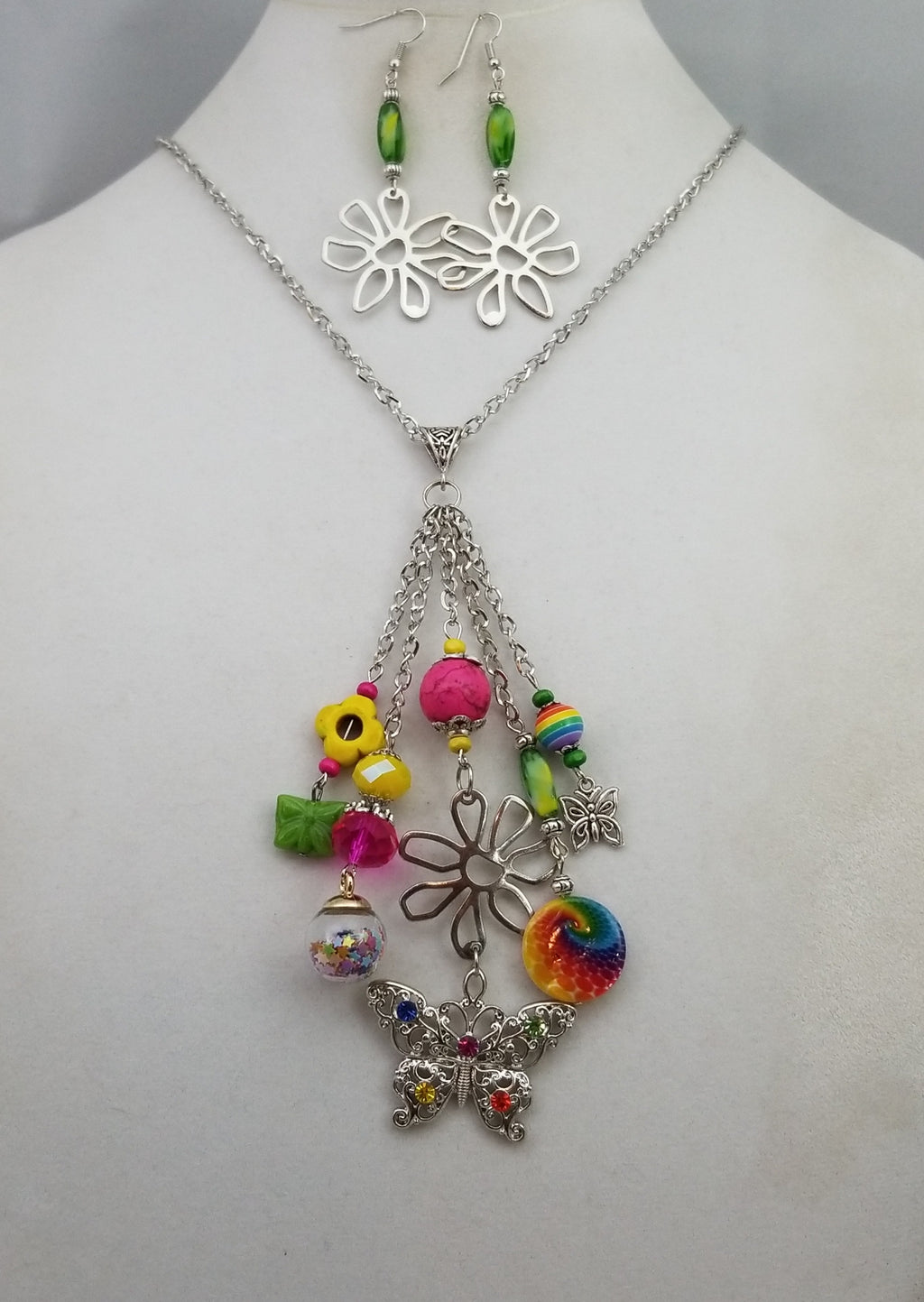 Tuti Fruiti Butterfly Necklace with Earrings