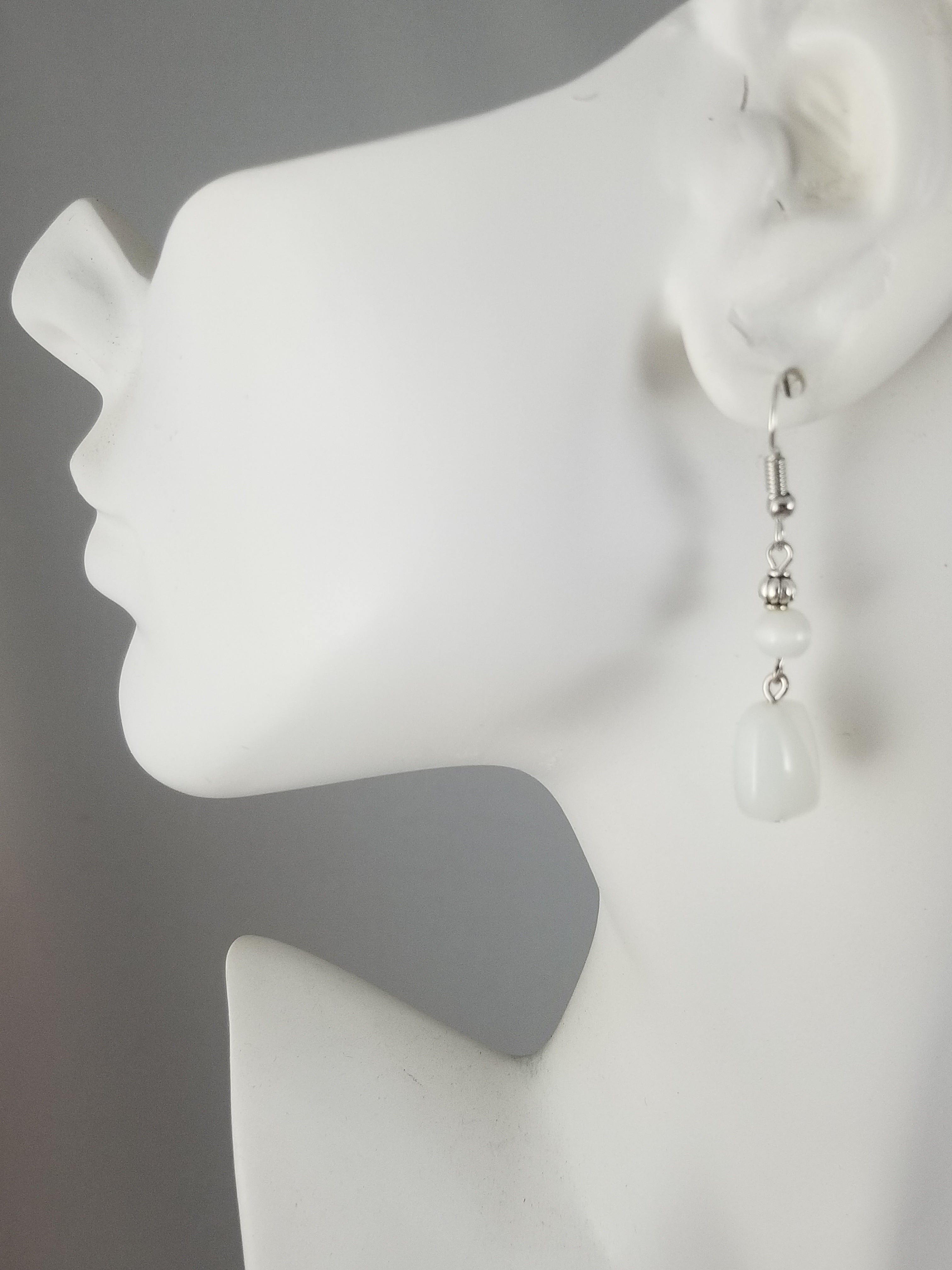 White #5 Earrings