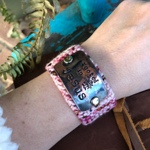 Rooted in Jesus Custom Hand Stamped Knit Bracelet