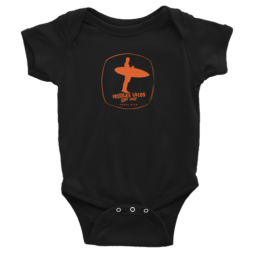 Classic Frijoles Locos Onesie with Orange logo.
