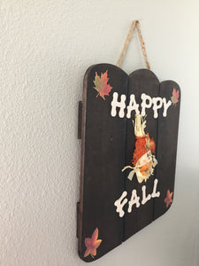 happy fall wood sign