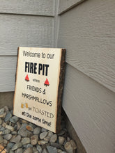 wood firepit sign
