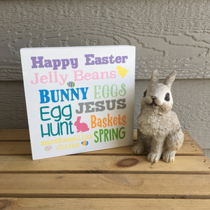easter spring sayings wood block