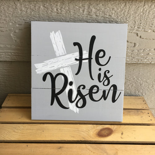 he is risen wood sign
