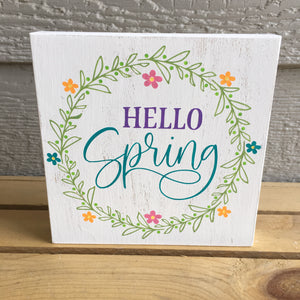 hello spring wood shelf sitter