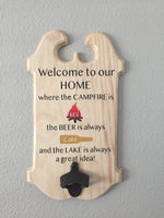 lake beer campfire sign