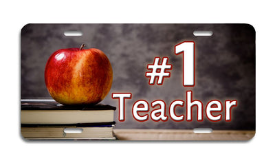 #1 Teacher - Aluminum License Plate