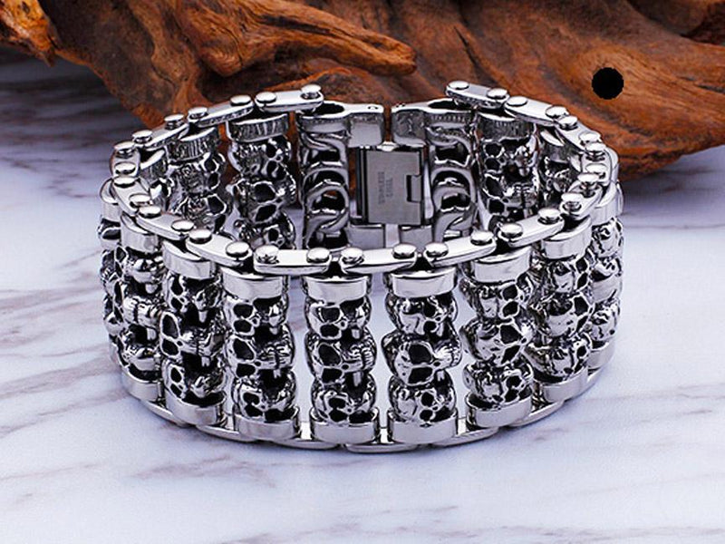 Solid Stainless Steel Heavy Skull Bracelet
