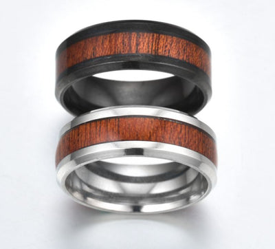 Carbide Steel Ring With Koa Wood Inlay, Polished Finish - Comfort Fit