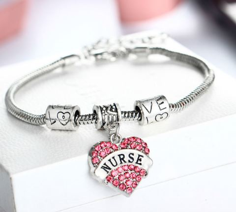 Nurse Crystal Heart Bracelet