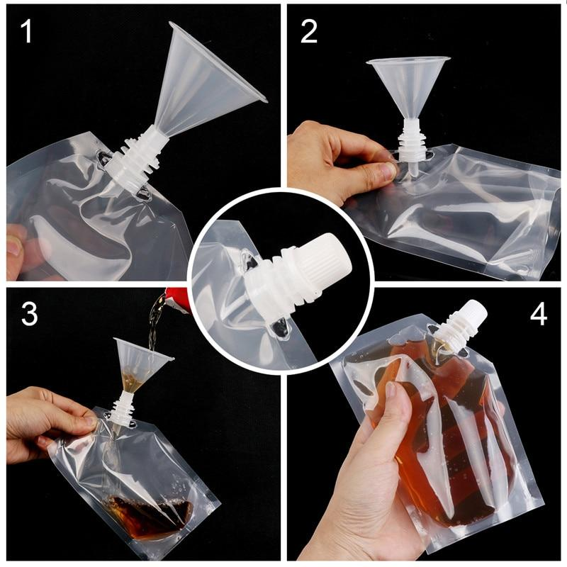 9 Plastic Liquor Pouches to smuggle liquor on cruise w/funnel