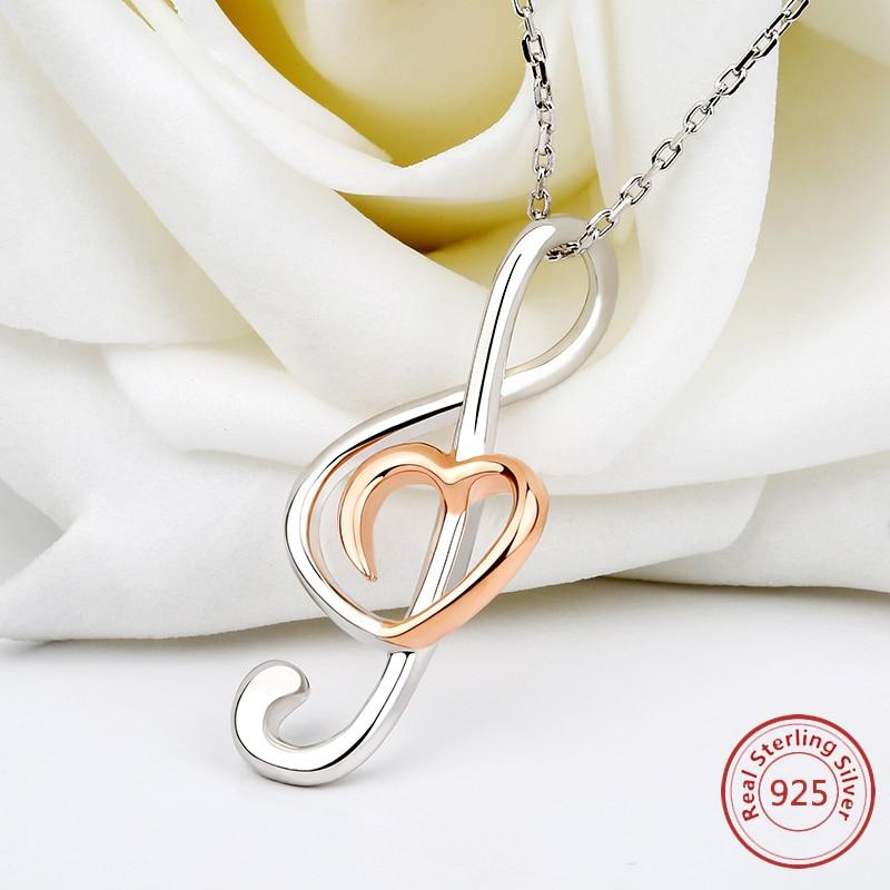 925 sterling silver music note love heart  necklace