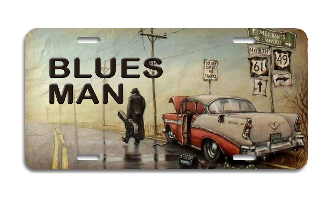 Blues Man - Aluminum License Plate