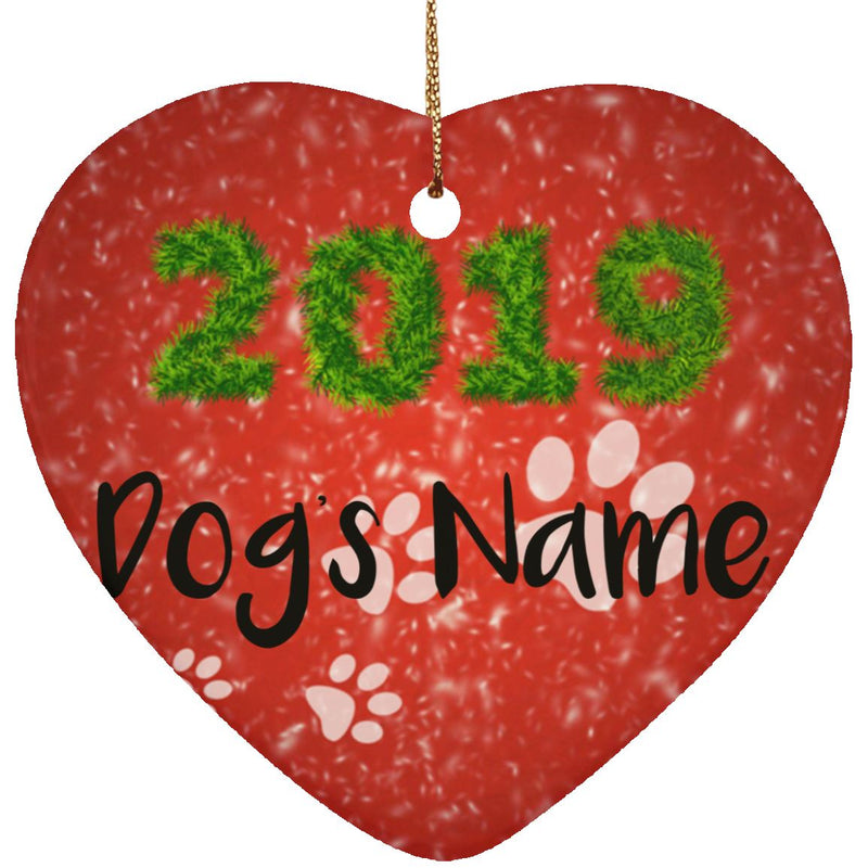 Ceramic Heart Dog Ornament- Personalize