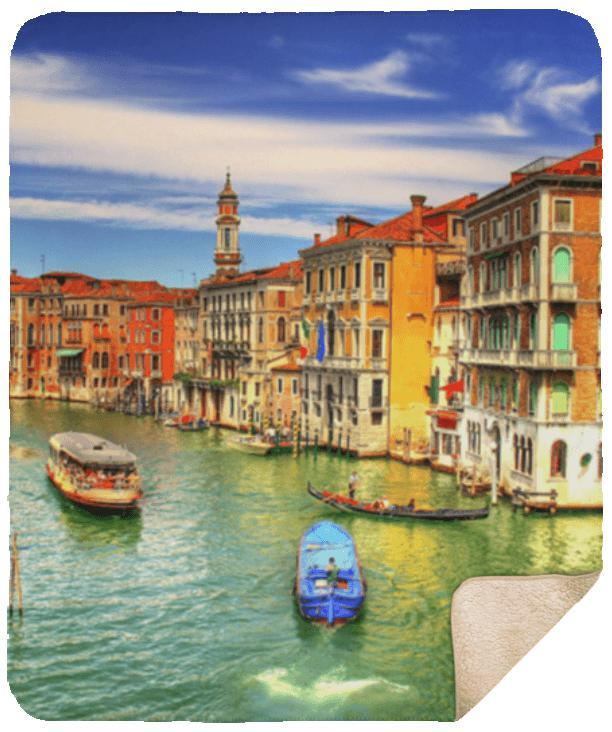 Sleep in Venice Sherpa Blanket - 50x60