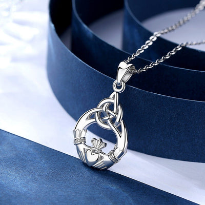 925 Sterling Silver Irish Claddagh Celtic Knot Love Necklace & Earrings Jewelry Set