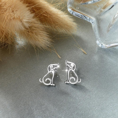 925 Silver Dog Jewelry Set - Necklace and Stud Earrings with box