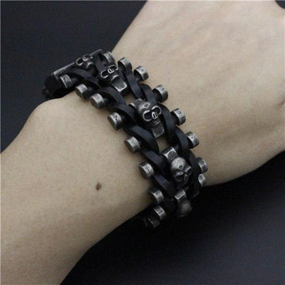 Stainless Steel and Leather Skull Bracelet