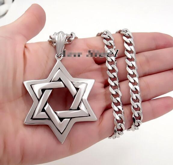 Huge 316L Stainless Steel Star of David Necklace