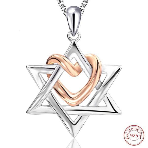 925 Sterling Silver Star of David necklace with Rose heart Necklace