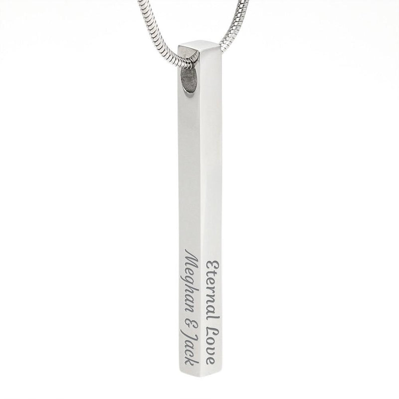 Solid Bar Custom Engraved (4 Sides) Necklace