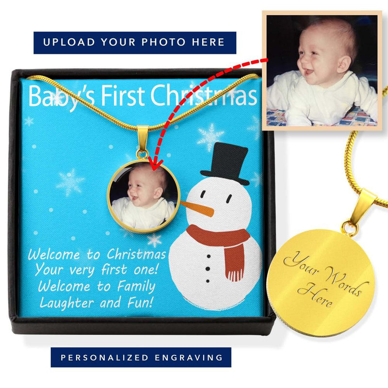 Your Photo on Baby's First Christmas Necklace
