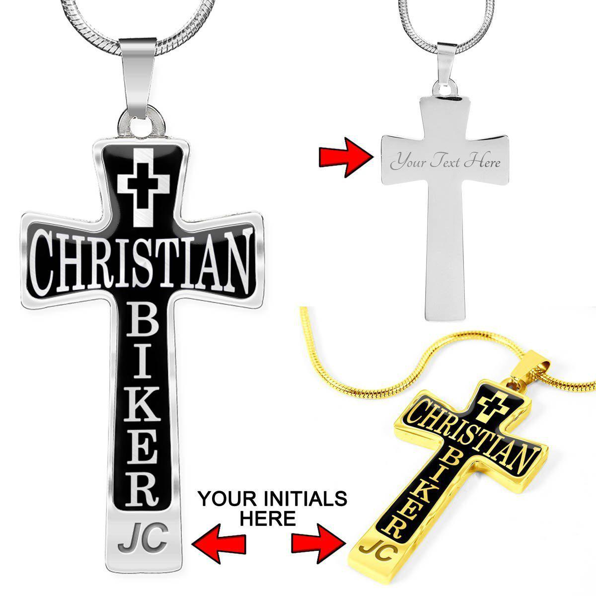 Christian Biker Cross - Custom Engrave