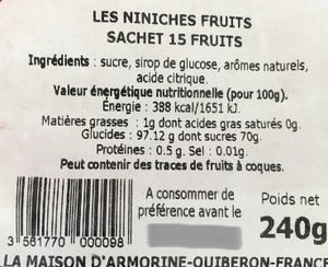 Niniches de Quiberon - Fruits x15 - Fabrication Bretagne - Mam'Breizh