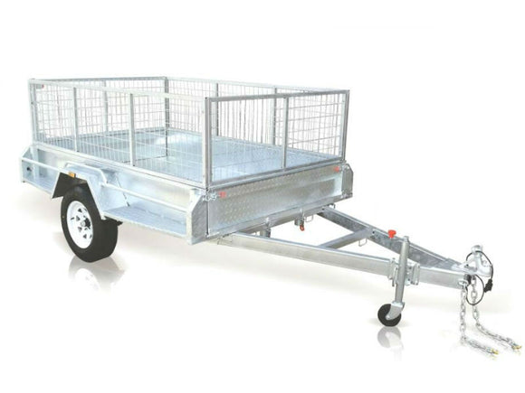 7x5 Galvanised Box Trailer with 600mm High Cage