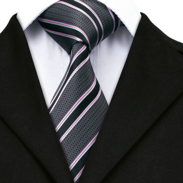 Pink/Black Stripe Silk Necktie