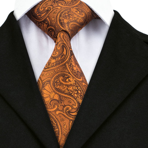 Golden Brown Paisley Silk Necktie