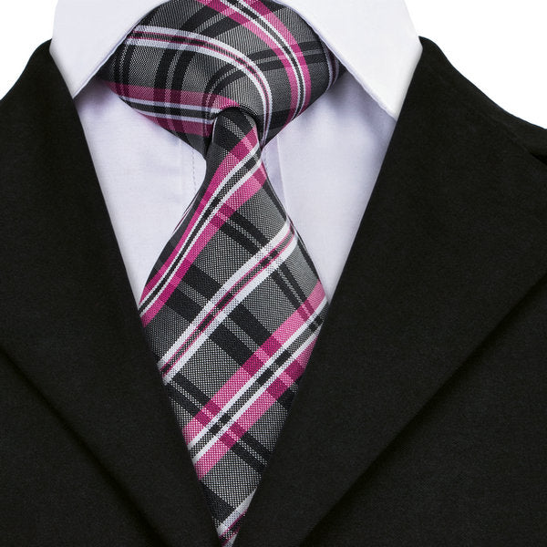 Black/Fuchsia/White Plaid Silk Necktie