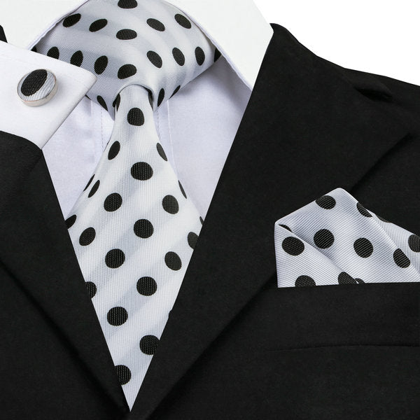 Black/White Polka Dot Silk Necktie Gift Set