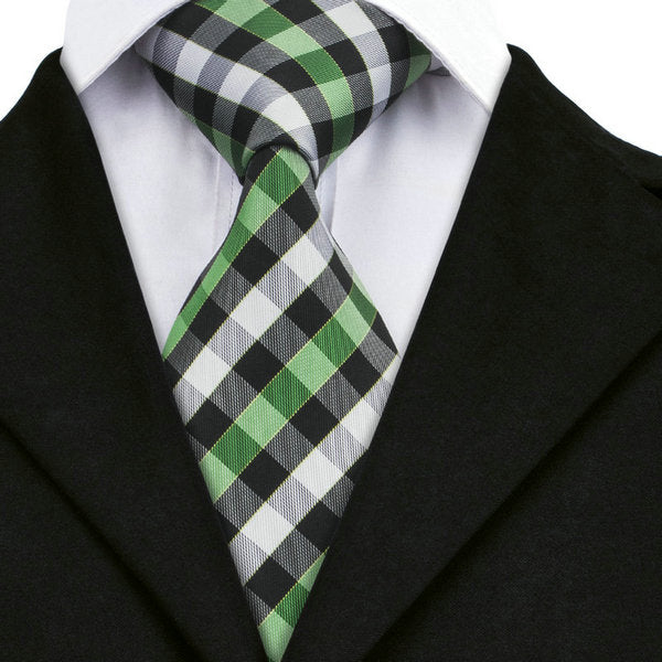 Black/White/Green Plaid Silk Necktie
