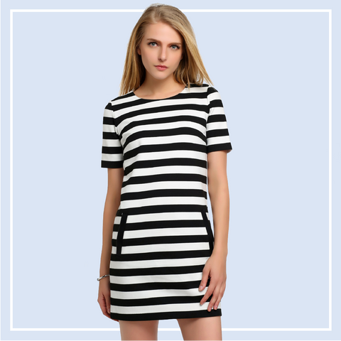 Striped Women Dresses Black & White
