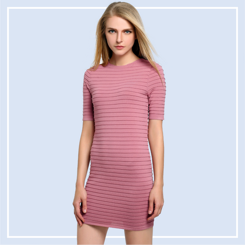 Smart-Casual-Ribbed-Bodycon-Dress-Online-Singapore-Shopping