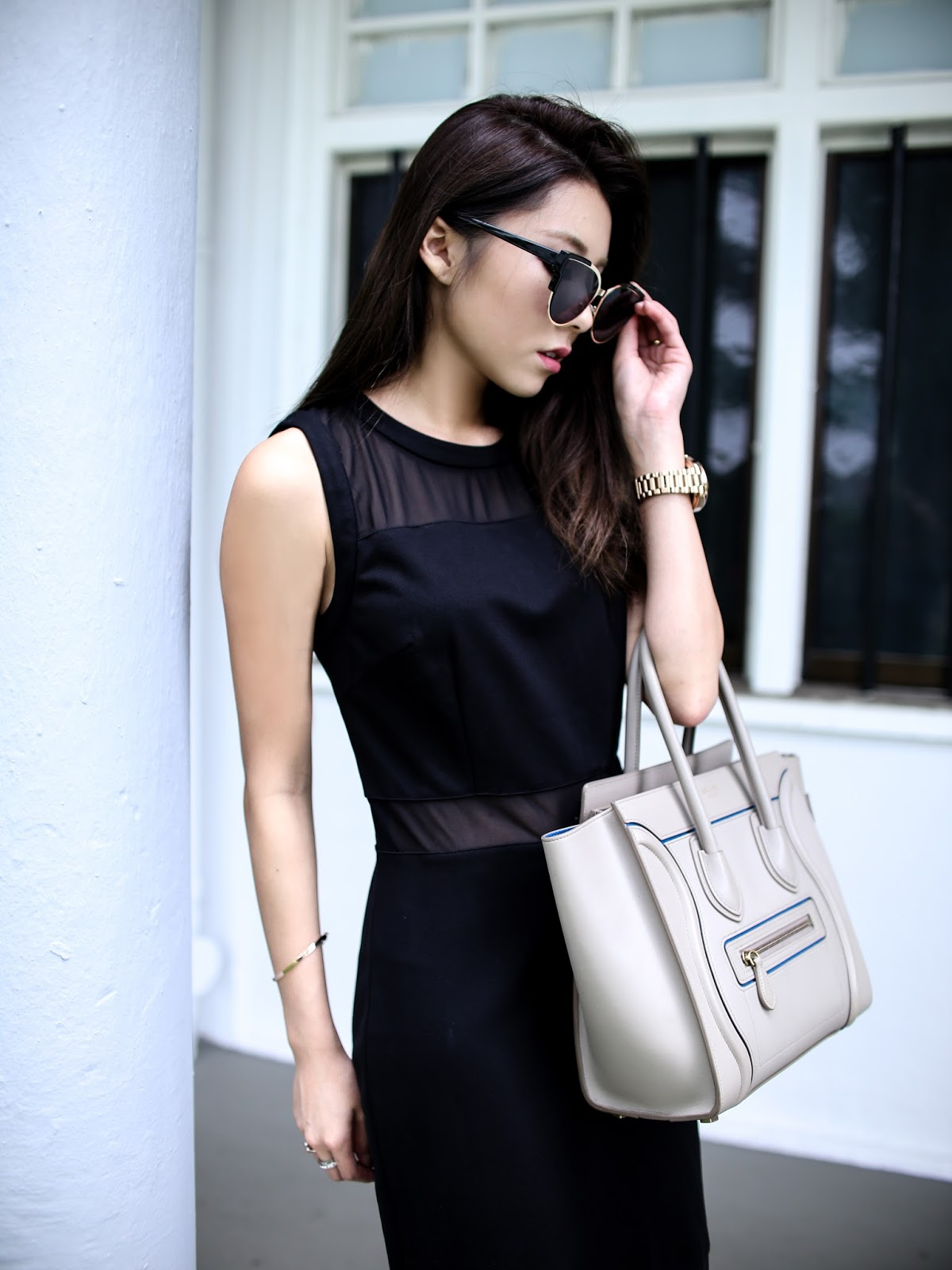 Sheer-Detailing-Bodice-Dress-Online-Shopping-Singapore