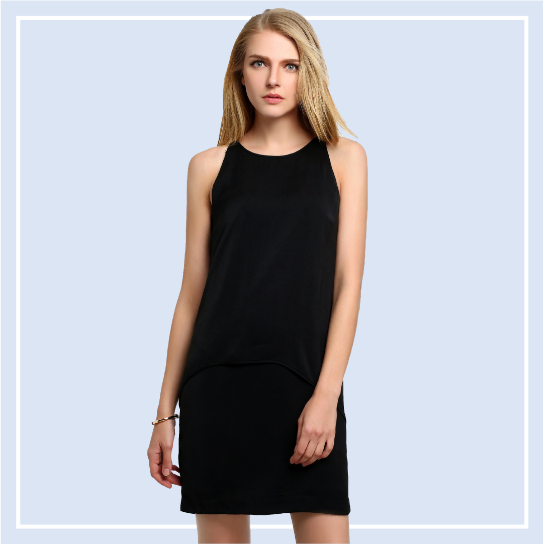 Sleeveless-Tiered-Chiffon-Black-Dress-Online-Shopping-Singapore