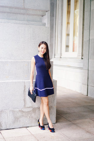 Smart-Casual-Two-Toned-A-Line-Royal-Blue-Dress-Singapore