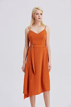 Load image into Gallery viewer, Rust-Strappy-Sleeveless-Midi-Dress-Front