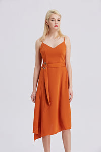 Rust-Strappy-Sleeveless-Midi-Dress-Front