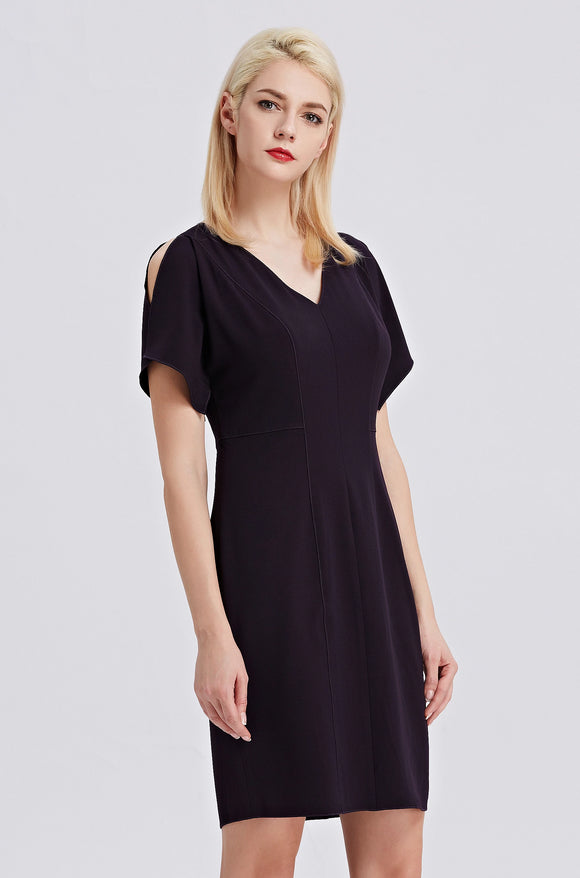 Purple-Tahari-Sheath-Dress-Slit-Shoulders