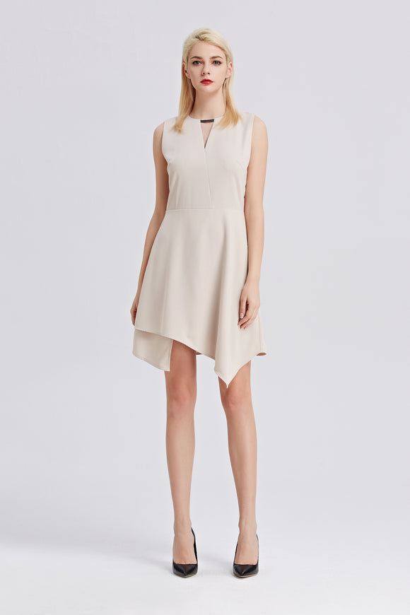 Sleeveless-A-Line-Dress-Beige-Main