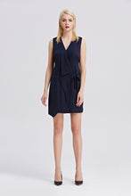 Load image into Gallery viewer, Sleeveless-V-Neck-Sheath-Dress-Navy-Full