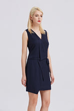 Load image into Gallery viewer, Sleeveless-V-Neck-Sheath-Dress-Navy-Side